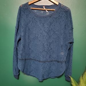 Free People Soft Lace Sweater Long Sleeve Top